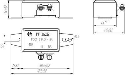 Рис.2. Габаритный чертеж регулятора РР362Б1